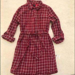 GapKids Girl's Red Plaid Shirt Dress